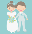 Cute bride and groom vector image