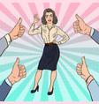 pop art successful business woman gesturing ok vector image
