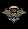 Military Skull with Wings and Daggers vector image