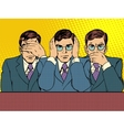 See hear say nothing to anyone business concep vector image