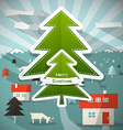 Merry Christmas Cartoon with Paper Trees - D vector image vector image