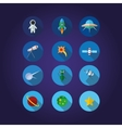 12 Space icons set in cirkle vector image