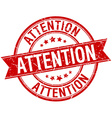 attention grunge retro red isolated ribbon stamp vector image