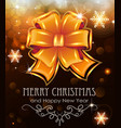 orange christmas bow on holiday background vector image