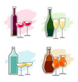 set of alcoholic beverages and glasses vector image