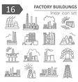 Factory buildings icon set Thin line icon design vector image