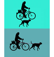 Women on bicycle with dogs on leash vector image