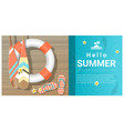 hello summer background with wooden pier vector image