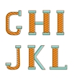 Colorful alphabet letters gh i j k l vector image