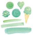 Green Watercolor Paint Design Elements Set vector image