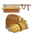 Hay to feed livestock and barrel vector image