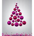 Christmas tree with magenta christmas balls vector image