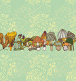 Seamless border of different mushrooms vector image