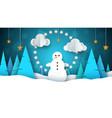 winter landscape snowman fir star moon vector image