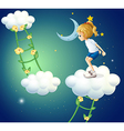 A girl above the clouds with a ladder plant vector image