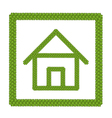 Green Four Leaf Clover of Home Icon in A Frame vector image
