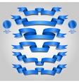 Blue ribbon set vector image