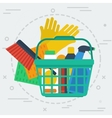 Cleaning items in basket vector image