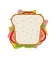 Ham and vegetable sandwich icon vector image
