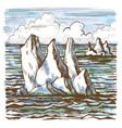 Iceberg sketch hand-drawn cartoon vector image