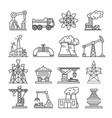 industrial building factory and power plant icons vector image