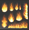 realistic 3d fire flame flare blaze burning vector image
