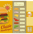 Burgers Menu vector image vector image