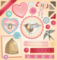 Hand Drawn Vintage Scrapbook Set vector image vector image