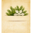 Christmas retro background with tree branches and vector image vector image