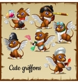 Six cute griffons engaged in their own business vector image