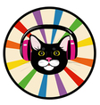 cat music headphones vector image