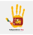 Handprint with the Flag of Sri Lanka in grunge vector image