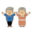 happy grandparents holding hands grandpa and vector image