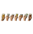 Male hand holding a glass with beer tequila vector image