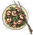 Prawn salad vector image