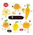 vegetable fruit cartoon cute mango orange carrot vector image