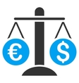 Currency Scales Flat Icon vector image