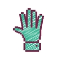 Pixelated open hand with green striped vector image