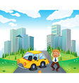A worried owner of a car with flat tires vector image vector image