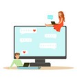 young man and woman sitting on a big computer and vector image