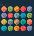 Round Thin Icon with Shadow Set 5 vector image