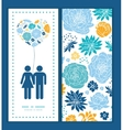 blue and yellow flowersilhouettes couple in vector image
