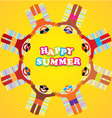 happy summer many people vector image vector image