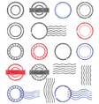 Blank templates of shabby postal stamps vector image