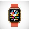 Modern shiny 18-karat yellow gold smart watches vector image