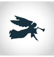 Angel with horn silhouette vector image