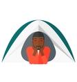 Man lying in tent vector image vector image