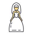 bride wedding dress marriage concept line vector image