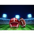 Helmet ball and american football field eps 10 vector image