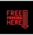 Light neon free parking label vector image